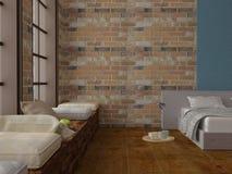 Rinda de dormitorio con el trencher con el desayuno en las paredes de ladrillo del suelo de parqué Foto de archivo libre de regalías