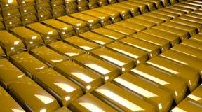 Rinda de pilas de barras de oro Fotos de archivo