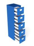 Rinda del cajón de fichero aislado en el fondo blanco Almacenamiento concentrado Foto de archivo