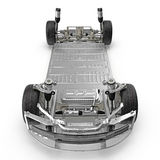 Rinda del chasis del coche eléctrico aislado en blanco Front View ilustración 3D Fotos de archivo