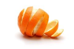 Rinde des orange Cutaways in der gewundenen Form Stockbilder