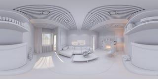 360 rinden la sala de estar del diseño interior del panorama Imagen de archivo libre de regalías