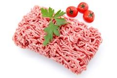 Rinderhackfleisch auf weißem Hintergrund lizenzfreies stockfoto