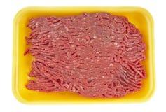 Rinderhackfleisch im Tellersegment Lizenzfreie Stockbilder