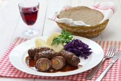 Rinderrouladen, german beef roll Stock Photo