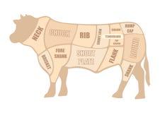 Rindfleisch-Ausschnitt lokalisiert auf weißem Hintergrund lizenzfreie abbildung