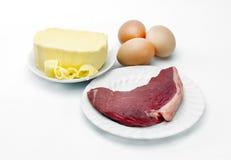 Rindfleisch, Butter und Eier Stockbilder