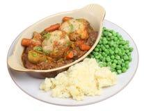 Rindfleisch-Eintopfgericht mit Brei u. Erbsen Lizenzfreies Stockfoto