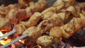 Rindfleisch kababs auf der Grillnahaufnahme stock video