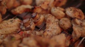 Rindfleisch kababs auf der Grillnahaufnahme stock footage