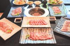 Rindfleisch- und Schweinefleischscheibe für Grill, japanisches Lebensmittel, Yakiniku Lizenzfreies Stockfoto