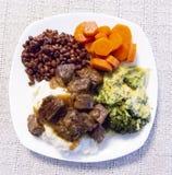 Rindfleischtipps, -soße und -gemüse Stockbild