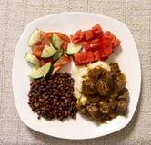 Rindfleischtipps, -soße und -gemüse Stockbilder