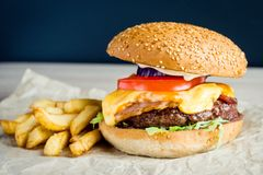 Rinforzi l'hamburger con il pomodoro, l'insalata, la cipolla, i pepers ed il formaggio Fotografia Stock