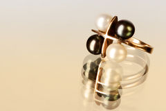 Ring 1. A ring with black and white pearls Royalty Free Stock Photography
