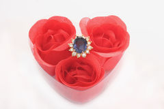 Ring. A heart box with a ring stock photo