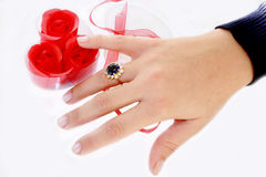 Ring. A woman hand with a ring royalty free stock photos