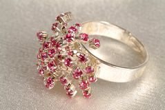 Ring. Bijouterie ring with lots of rubies Stock Photography