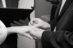 The Ring. A man places a ring on his new wife's finger Stock Image