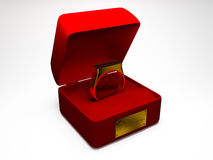 Ring. Golden wedding ring in red box with words I love you. it was made in 3d Royalty Free Stock Images
