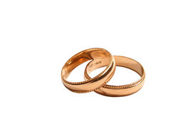 Ring 4. Two wedding rings with notches stock images