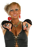 Ring. Happy attractive woman showing ring on her finger Stock Photos