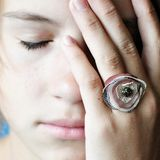 Ring. Girl with beautiful ring with eyes closed Stock Photos
