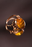 Ring with amber Royalty Free Stock Images