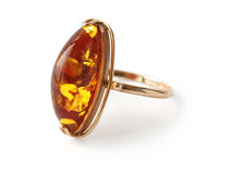Ring with amber Stock Photos
