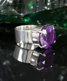Ring amethyst. Sterling silver ring with amethyst gemstone Stock Photography