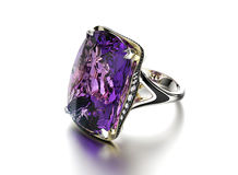 Ring with Amethyst. Jewelry background Royalty Free Stock Photography