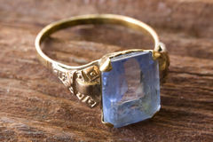 Ring with aquamarine stock images