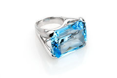 Ring with aquamarine. Ring with a large blue sky aquamarine in white gold stock photo