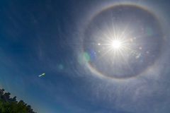 Ring around Sun over Montreal downtown Royalty Free Stock Images