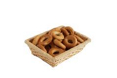 Ring bagels. On wattled basket Stock Image