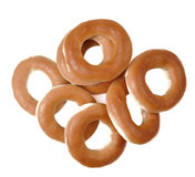 Ring bagels on a white background Royalty Free Stock Photos