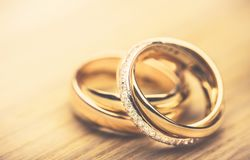 Ring. Bands proposing closeup matrimony ceremony two Stock Image
