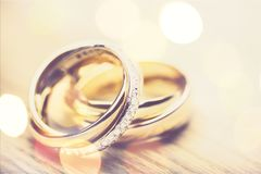 Ring. Bands proposing closeup matrimony ceremony two Stock Photography