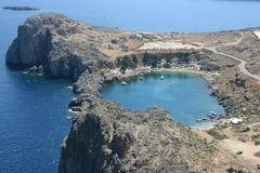 Ring bay on Rhodes. View from the Lindos Castle Stock Photo