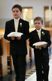 Ring Bearers. Entering into church wedding ceremony Stock Image