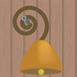 Ring bell on wall. Bell in wood wall for ringing Stock Photo
