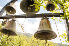 Ring the bells!. View of the bells of the Monastery of Philosopher, Peloponnese, Greece Royalty Free Stock Photo
