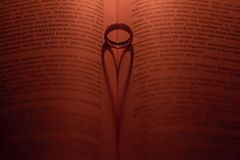 Ring and bible shot. In the night Royalty Free Stock Image