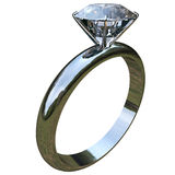 Ring with big diamond. Crimping a large diamond ring with clipping path Stock Image
