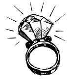 Ring with a big sparling diamond Royalty Free Stock Image