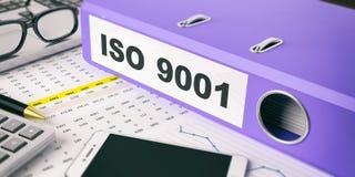 Ring Binder con l'iso 9001 dell'iscrizione illustrazione 3D Fotografia Stock Libera da Diritti