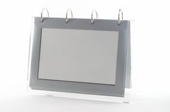 Ring binder empty photo frame. Clear frame, gray, on white, seen from an angle, good for display royalty free stock photo