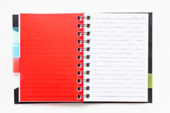 Ring binder notebook with red bookmark Stock Photo
