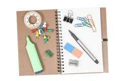 Ring binder and office supplies Stock Photo