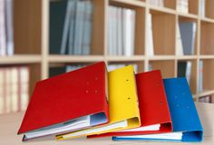 Ring Binders. Authority File Research Document Binders Stack stock image